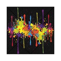 Crazy Multicolored Double Running Splashes Horizon Acrylic Tangram Puzzle (6  X 6 ) by EDDArt