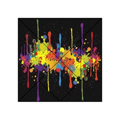 Crazy Multicolored Double Running Splashes Horizon Acrylic Tangram Puzzle (4  X 4 ) by EDDArt