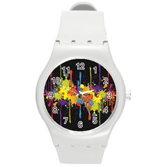 Crazy Multicolored Double Running Splashes Horizon Round Plastic Sport Watch (m) by EDDArt