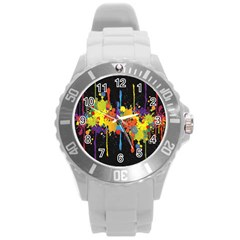 Crazy Multicolored Double Running Splashes Horizon Round Plastic Sport Watch (l) by EDDArt