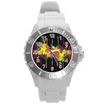 Crazy Multicolored Double Running Splashes Horizon Round Plastic Sport Watch (L) Front