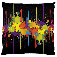 Crazy Multicolored Double Running Splashes Horizon Large Cushion Case (one Side) by EDDArt