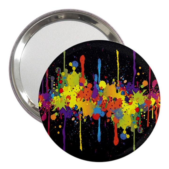 Crazy Multicolored Double Running Splashes Horizon 3  Handbag Mirrors