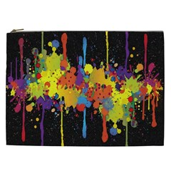 Crazy Multicolored Double Running Splashes Horizon Cosmetic Bag (xxl)  by EDDArt