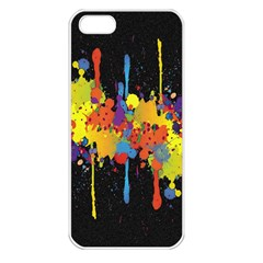 Crazy Multicolored Double Running Splashes Horizon Apple Iphone 5 Seamless Case (white) by EDDArt