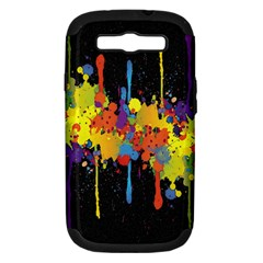 Crazy Multicolored Double Running Splashes Horizon Samsung Galaxy S Iii Hardshell Case (pc+silicone) by EDDArt