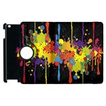 Crazy Multicolored Double Running Splashes Horizon Apple iPad 2 Flip 360 Case Front