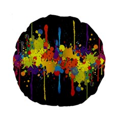 Crazy Multicolored Double Running Splashes Horizon Standard 15  Premium Round Cushions by EDDArt