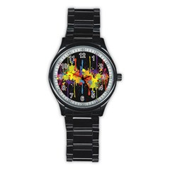 Crazy Multicolored Double Running Splashes Horizon Stainless Steel Round Watch by EDDArt