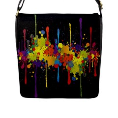 Crazy Multicolored Double Running Splashes Horizon Flap Messenger Bag (l)  by EDDArt