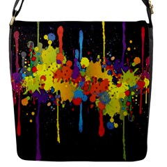 Crazy Multicolored Double Running Splashes Horizon Flap Messenger Bag (s) by EDDArt