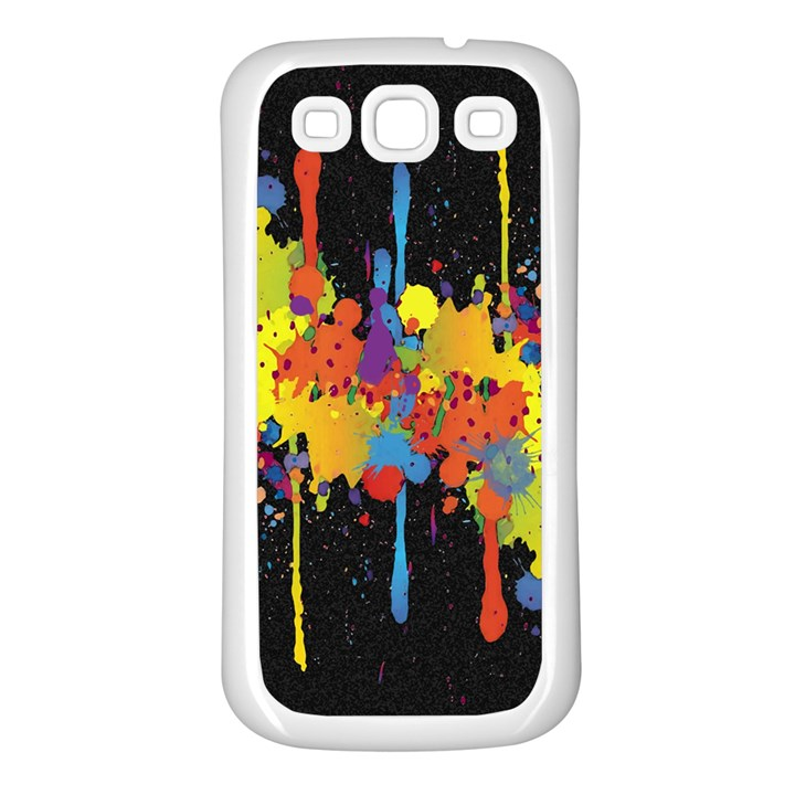 Crazy Multicolored Double Running Splashes Horizon Samsung Galaxy S3 Back Case (White)