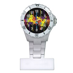 Crazy Multicolored Double Running Splashes Horizon Plastic Nurses Watch