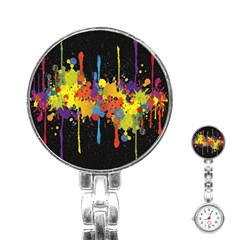 Crazy Multicolored Double Running Splashes Horizon Stainless Steel Nurses Watch by EDDArt