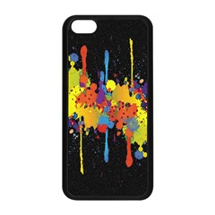 Crazy Multicolored Double Running Splashes Horizon Apple Iphone 5c Seamless Case (black) by EDDArt