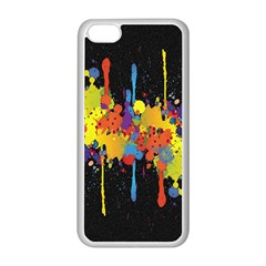 Crazy Multicolored Double Running Splashes Horizon Apple Iphone 5c Seamless Case (white) by EDDArt