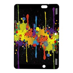 Crazy Multicolored Double Running Splashes Horizon Kindle Fire Hdx 8 9  Hardshell Case by EDDArt