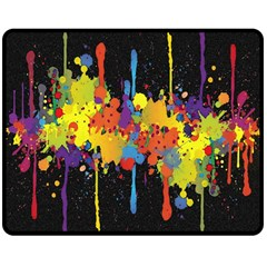 Crazy Multicolored Double Running Splashes Horizon Double Sided Fleece Blanket (medium)  by EDDArt