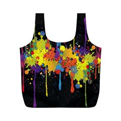 Crazy Multicolored Double Running Splashes Horizon Full Print Recycle Bags (m)