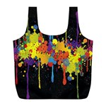 Crazy Multicolored Double Running Splashes Horizon Full Print Recycle Bags (L)