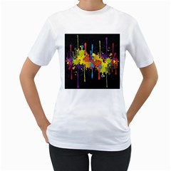 Crazy Multicolored Double Running Splashes Horizon Women s T Shirt (white)