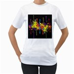 Crazy Multicolored Double Running Splashes Horizon Women s T-Shirt (White)  Front