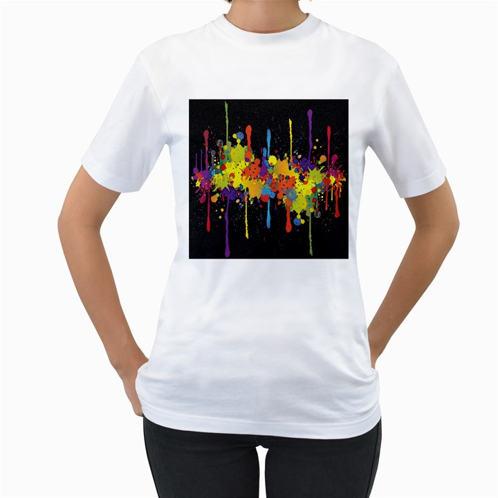 Crazy Multicolored Double Running Splashes Horizon Women s T-Shirt (White)