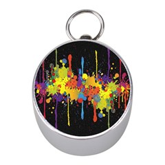 Crazy Multicolored Double Running Splashes Horizon Mini Silver Compasses by EDDArt