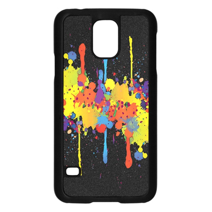 Crazy Multicolored Double Running Splashes Horizon Samsung Galaxy S5 Case (Black)