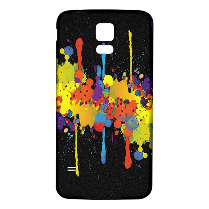 Crazy Multicolored Double Running Splashes Horizon Samsung Galaxy S5 Back Case (White)