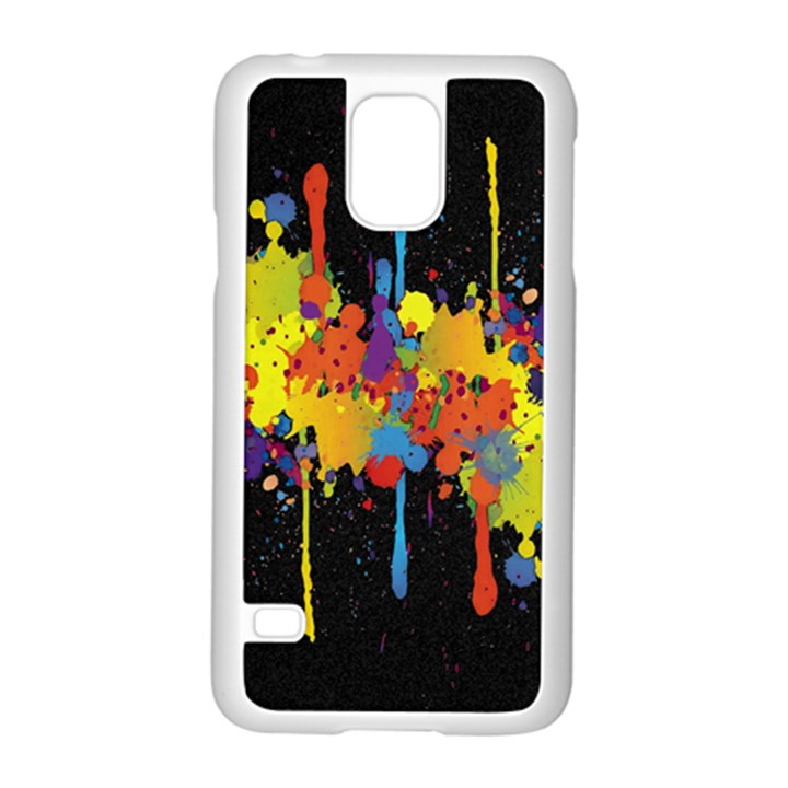 Crazy Multicolored Double Running Splashes Horizon Samsung Galaxy S5 Case (White)