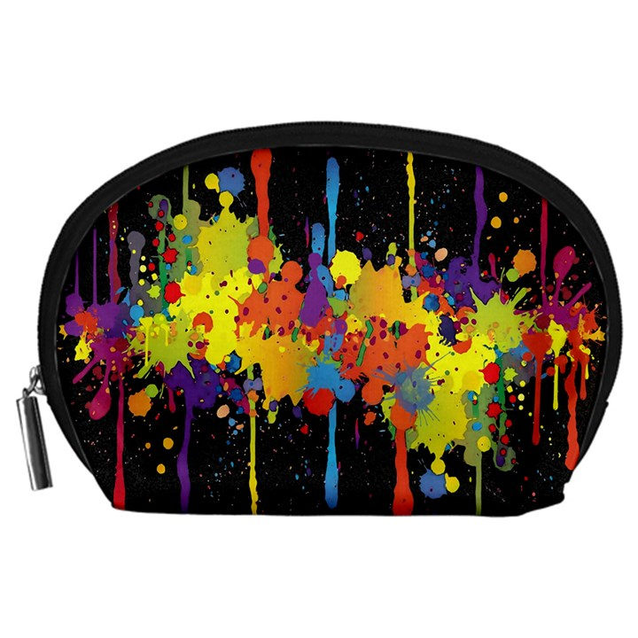 Crazy Multicolored Double Running Splashes Horizon Accessory Pouches (Large)