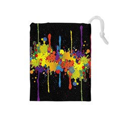 Crazy Multicolored Double Running Splashes Horizon Drawstring Pouches (medium)