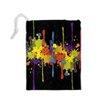 Crazy Multicolored Double Running Splashes Horizon Drawstring Pouches (Medium)  Back