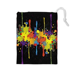 Crazy Multicolored Double Running Splashes Horizon Drawstring Pouches (large)  by EDDArt