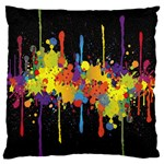 Crazy Multicolored Double Running Splashes Horizon Large Flano Cushion Case (One Side) Front