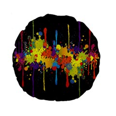 Crazy Multicolored Double Running Splashes Horizon Standard 15  Premium Flano Round Cushions by EDDArt