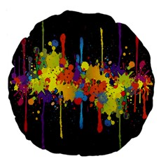 Crazy Multicolored Double Running Splashes Horizon Large 18  Premium Flano Round Cushions by EDDArt