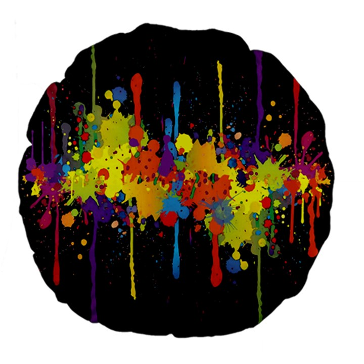 Crazy Multicolored Double Running Splashes Horizon Large 18  Premium Flano Round Cushions
