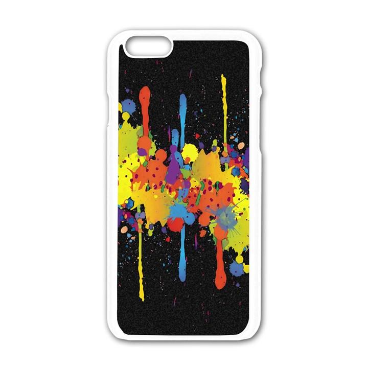 Crazy Multicolored Double Running Splashes Horizon Apple iPhone 6/6S White Enamel Case