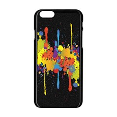 Crazy Multicolored Double Running Splashes Horizon Apple Iphone 6/6s Black Enamel Case by EDDArt
