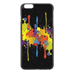 Crazy Multicolored Double Running Splashes Horizon Apple Iphone 6 Plus/6s Plus Black Enamel Case by EDDArt