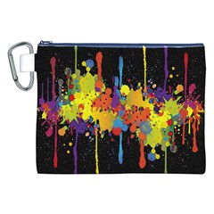 Crazy Multicolored Double Running Splashes Horizon Canvas Cosmetic Bag (xxl) by EDDArt