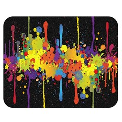 Crazy Multicolored Double Running Splashes Horizon Double Sided Flano Blanket (medium)  by EDDArt