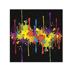 Crazy Multicolored Double Running Splashes Horizon Small Satin Scarf (square) by EDDArt