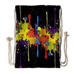 Crazy Multicolored Double Running Splashes Horizon Drawstring Bag (large) by EDDArt