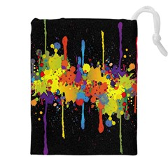 Crazy Multicolored Double Running Splashes Horizon Drawstring Pouches (xxl) by EDDArt
