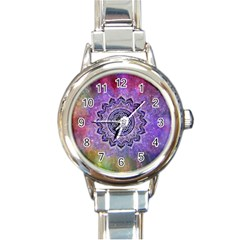 Flower Of Life Indian Ornaments Mandala Universe Round Italian Charm Watch by EDDArt