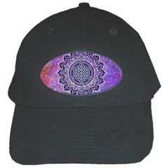 Flower Of Life Indian Ornaments Mandala Universe Black Cap by EDDArt