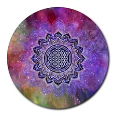 Flower Of Life Indian Ornaments Mandala Universe Round Mousepads by EDDArt